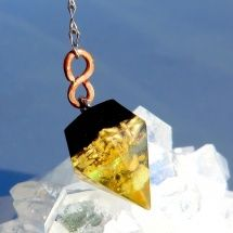 Kyvadlo *Citrínový Diamant* s měď spirál
