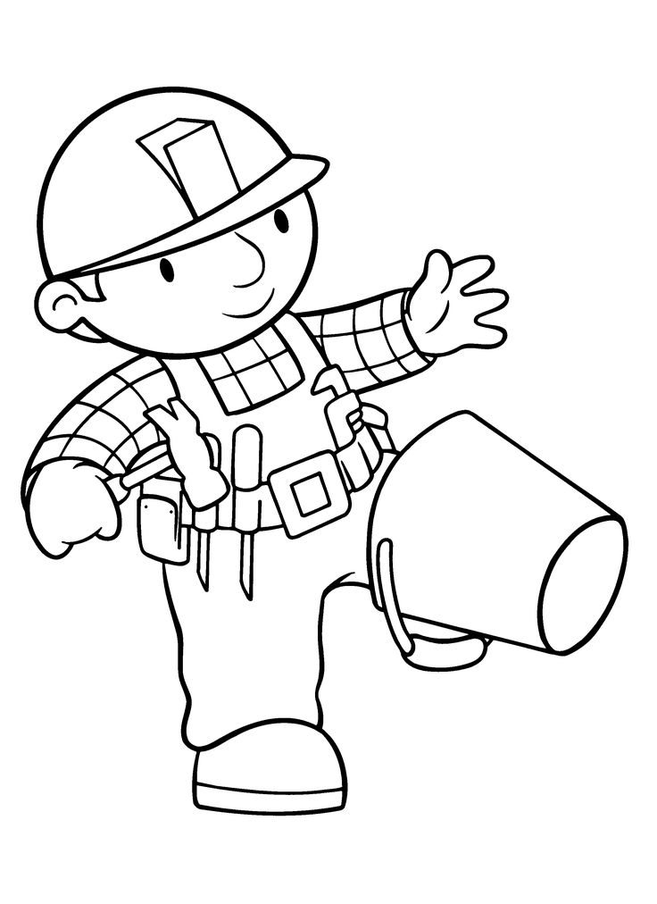 colouring in pages bob the builder
