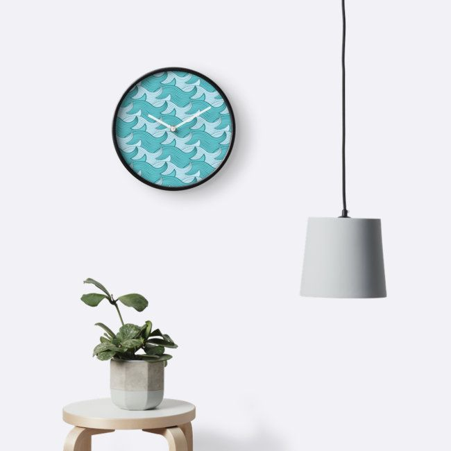 California Surf Wave Pattern Illustration by Gordon White | Black California Surf Wall Clock Available in 3 Frame Colors @redbubble --------------------------- #redbubble #stickers #california #losangeles #la #surf #wave #cute #adorable #pattern #coffeemug #mug #homedecor