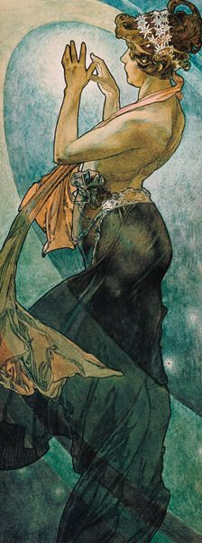 "Alphonse Mucha (Czech, 1860 - 1939). The Moon and the Stars: Study for ""The Pole Star"", 1902. Ink and watercolor on paper, 56 x 21 cm."
