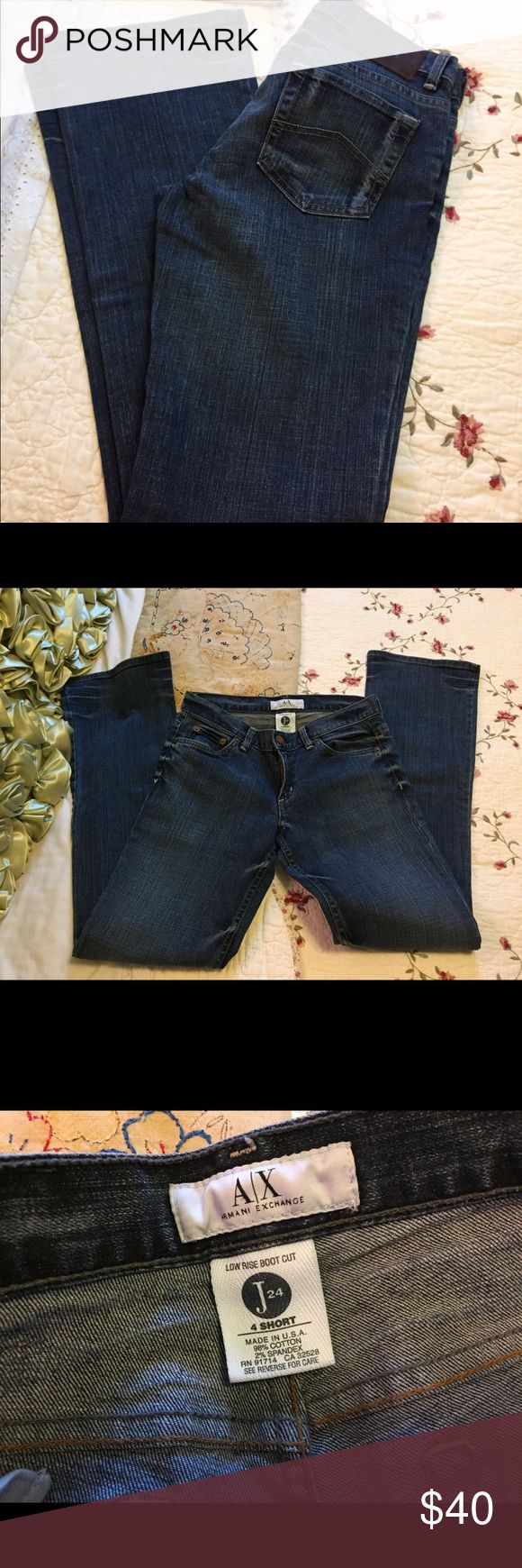 """Armani Exchange Low Rise Boot Cut Jeans J24 Very good clean condition.  Size 4 short. USA made. 98% cotton/2% spandex.  Waist up to 28"""". Rise 7.5"""", inseam 31""""! 5 pocket style. A/X Armani Exchange Jeans Boot Cut"""
