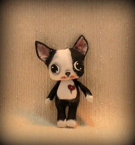 NEW-Boston Terrier puppy cloth doll by suziehayward on Etsy, $59.00 sold