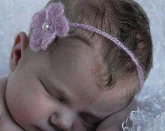 Yumuşak Pembe Bebek saç Bandı -- İyi El ile Tığ işi Fotoğraf Prop Tiftik-Akrilik İplik