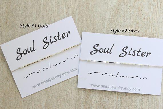 ab8fb98ca7465 Soul Sisters Bracelet Friendship Bracelet Dainty Morse Code Jewelry ...