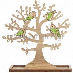 Διακοσμητικό Ξύλινο Δέντρο με Πουλάκια Διάσταση: 27cm x 28cm
