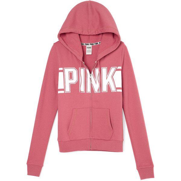 Perfect Full-Zip Hoodie ($43) ❤ liked on Polyvore featuring tops, hoodies, pink top, hooded sweatshirt, red top, pink hooded sweatshirt and red hooded sweatshirt