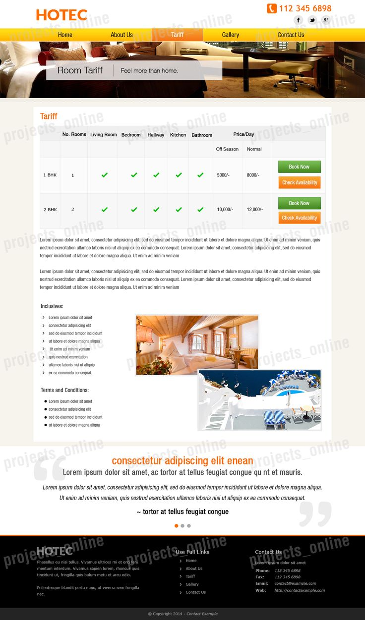 Inner Page mock-up for a Hotel/ apartment website.
