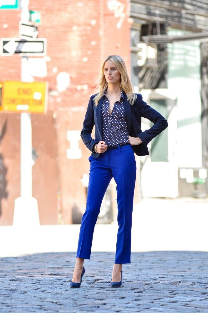 Karolina Kurkova Photos Photos: Karolina Kurkova Spotted on a NYC Photoshoot | Work outfits women, Blue pants outfit, Outfits