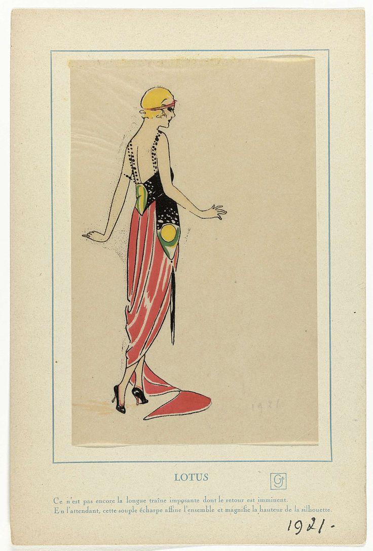 Anonymous | Très Parisien, 1921 : LOTUS / Ce n'est pas encore la longue traîne..., Anonymous, G-P. Joumard, 1921 | Avondjurk met lange sleep en bij de taille versierd met een sjaal(?) uitlopend in een kwast. Accessoires: hoofdband, pumps. Prent uit het modetijdschrift Très Parisien (1920-1936).