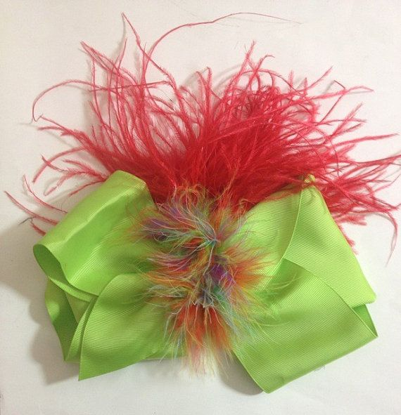Dance Competition Neon Green Rainbow Red Feather Cheer Bow. Available in many color combinations.  Buy it on Esty.  by FancyGirlBoutiqueNYC