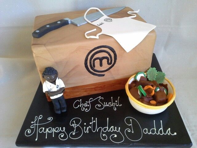 Masterchef mystery box cake  chocolate curry and Sushil fondant figurine created by MJ www.mjscakes.co.nz in sunny Hawkes Bay