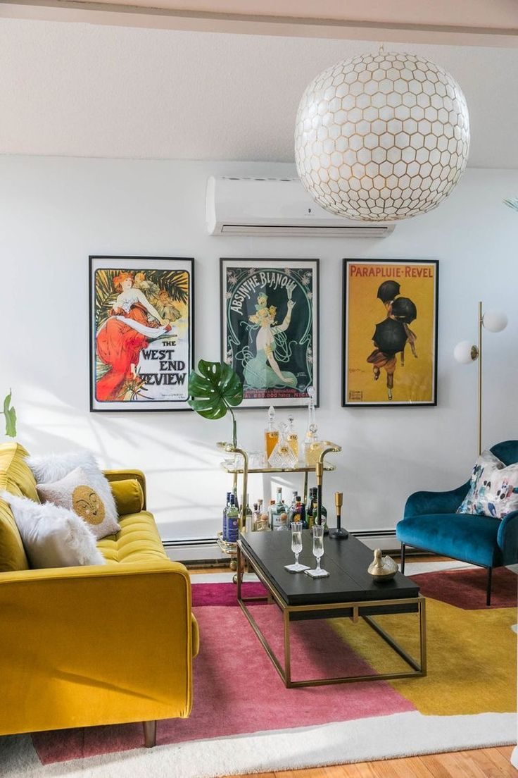 mid century glam inspo ️ in 2020 | glam living room, eclectic living room, mid century modern