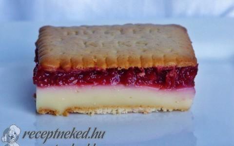 Meggyes-pudingos keksz szelet recept fotóval