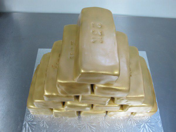 Gold Brick Cake Sauls Golden Birthday Pinterest