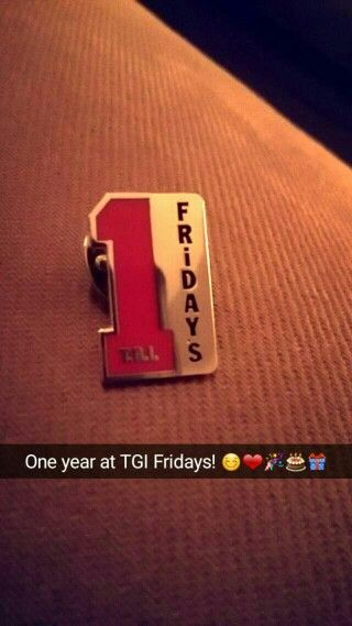 Happy first birthday to TGI Fridays Silverburn! Received this badge from my boss to celebrate before our one year party coming up! Love my job <3