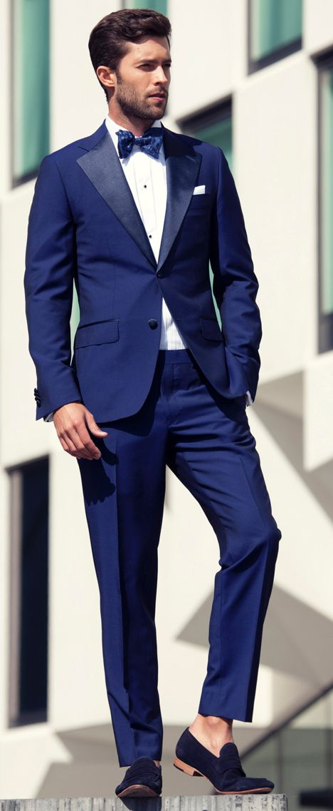 I love the blue suit, just think that a different color shoe and some socks would be better than those shoes.