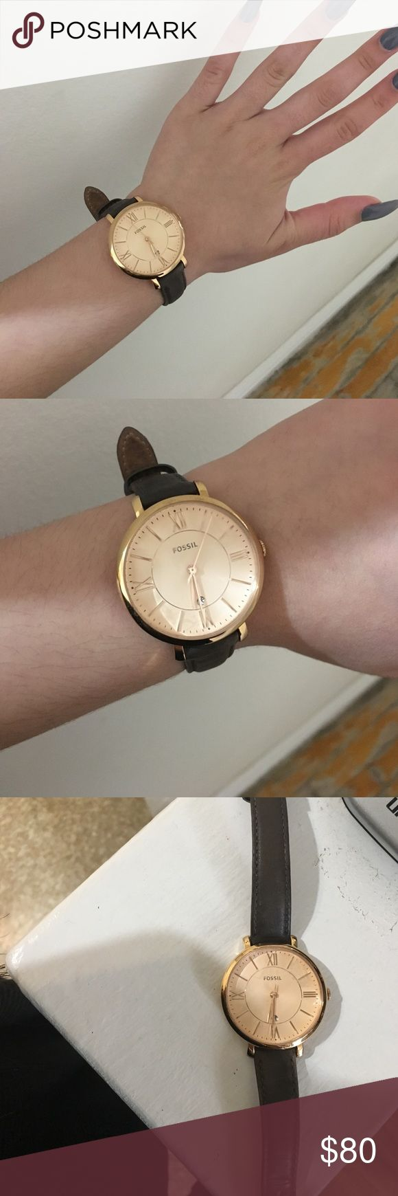 """Fossil Jacqueline Gray Leather Watch Fossil stainless steel women's watch. Only used about three times and has absolutely no signs of wear. Has a personalized note in the back that says """"soul in the sky"""". Genuine leather. Willing to negotiate price. Fossil Accessories Watches"""