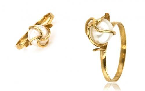 Perlový prsteň INEZ zo žltého zlata