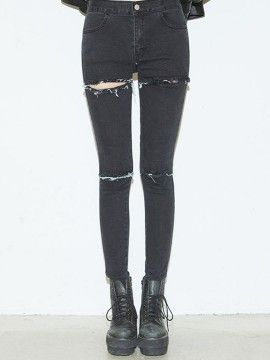 Shop Black Ripped Distressed Skinny Jeans from choies.com .Free shipping Worldwide.$21.99