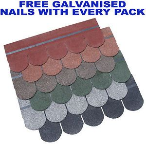 Fishscale Roof Felt Tiles,Shingles - Pack of 21 , Ideal for sheds, log cabins.
