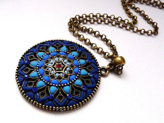 Blue mandala - polymer clay necklace jewelry mandala necklace fantasy jewelry Good Luck necklace. Polymer clay necklace. Best gift for her