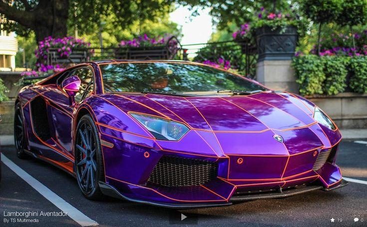 Neon purple lamborghini