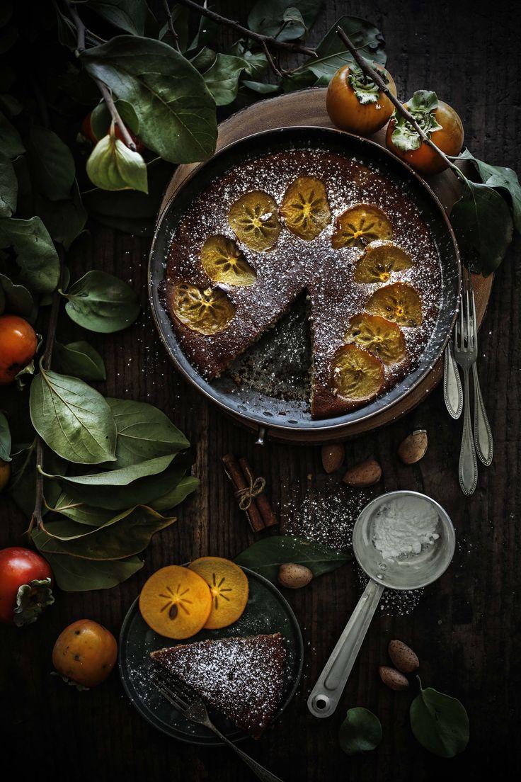 Persimmon, almond and cinnamon flaugnarde
