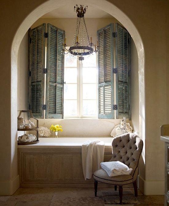 like the shutters instead of roman shade or blinds: Bathroom Design, Old Shutters, Windows Seats, Masterbath, Bathtubs, Master Bath, Nooks, Design Bathroom, Bathroom Windows