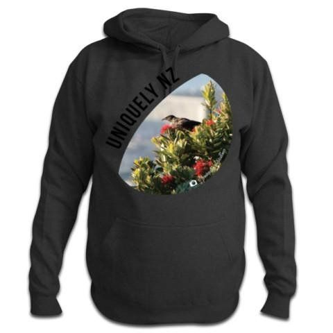 Uniquely NZ- Tui and Pohutukawa Photo - New Zealand Hoodie