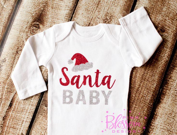 Christmas Glitter Onesie, Santa Baby Glitter Shirt, Girls Christmas Shirt…