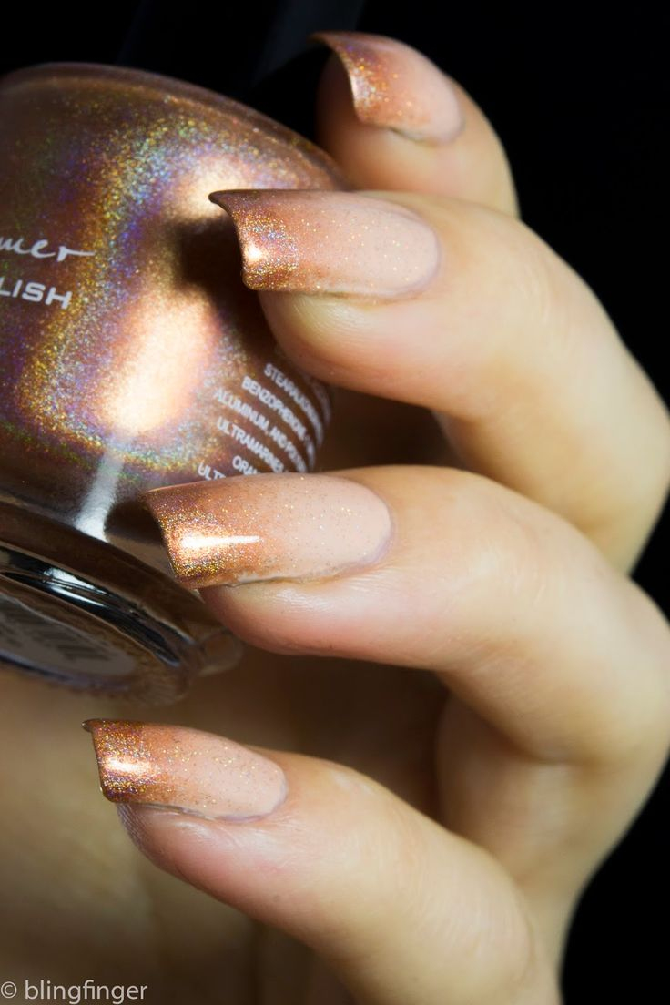 nude holo gradient nails