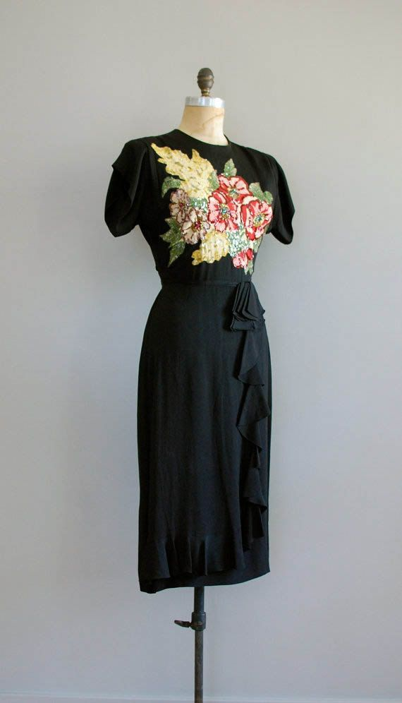 1940s dress / rayon dress / Sequin and Ruffle