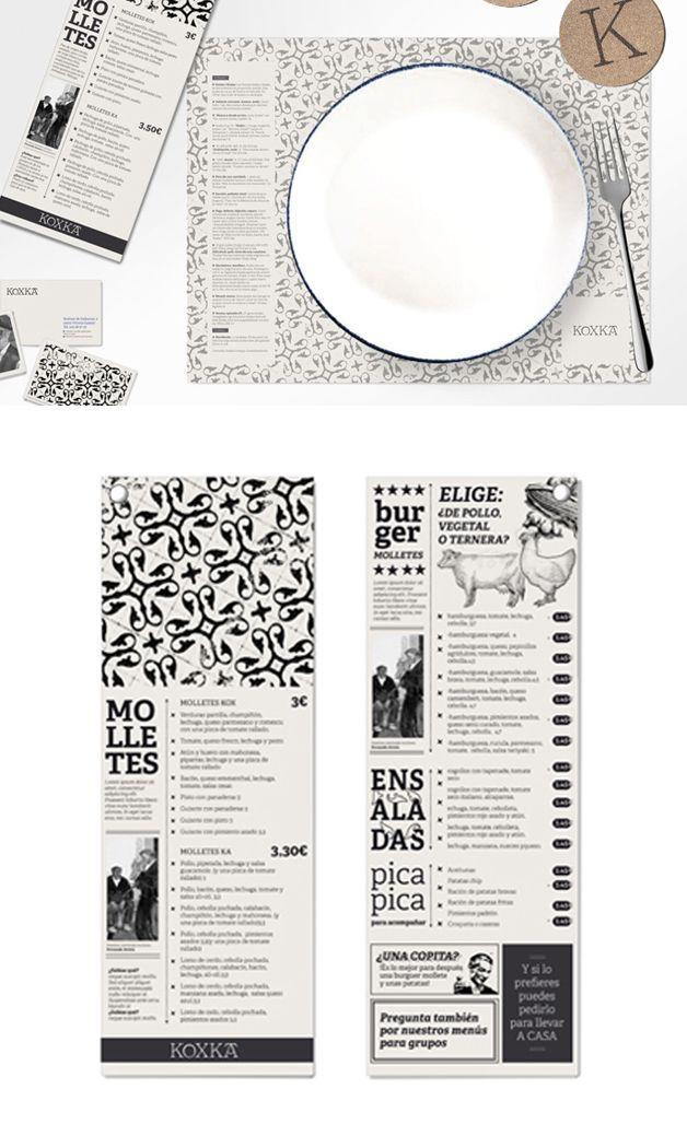 Diseño, ilustración, restaurante, vasco, mantel, menú. Diseño moderno de la imagen corporativa de la bocadillería Koxka, en Vitoria/Gazteiz
