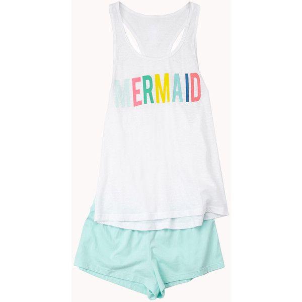 Forever 21 Women's  Mermaid PJ Set (£11) ❤ liked on Polyvore featuring intimates, sleepwear, pajamas, forever 21, forever 21 pajamas, forever 21 pjs and forever 21 sleepwear