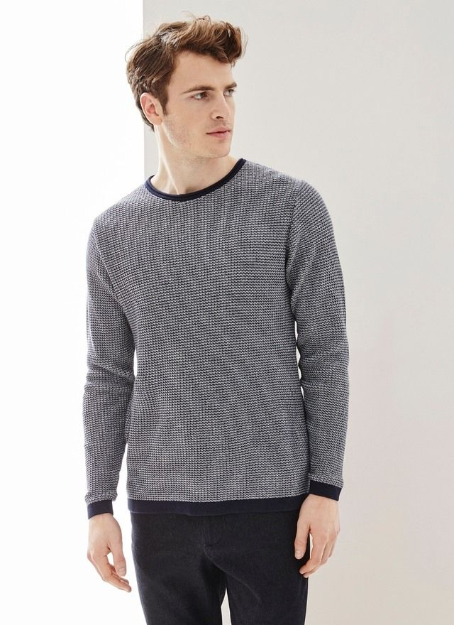 Image of Bicoloured Textured Cotton Sweater