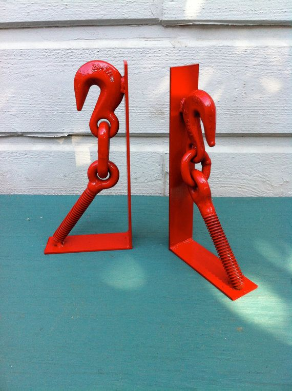 Red industrial metal steel bookend spring book holder for kids room or office book shelves goes with pipe desk or vintage lamp $90