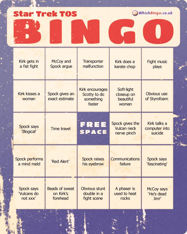Star Trek The Original Series Bingo Card » Bingo Cards