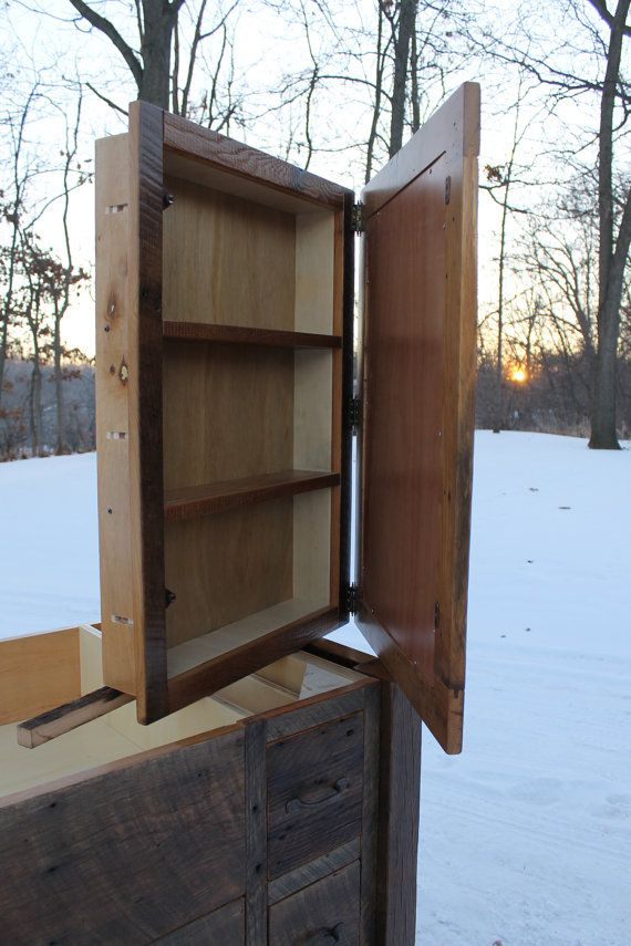 Rustic Medicine Cabinet Recessed W Mirror Frame