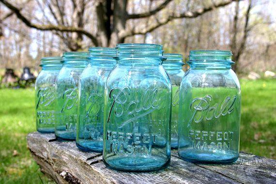 4 Vintage Aqua Blue Ball Perfect Mason by DukeCreekStudios