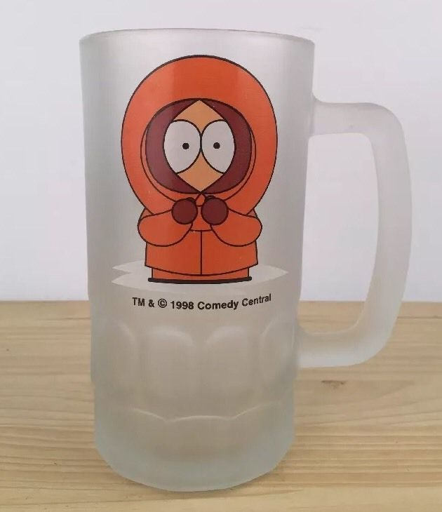 """COLLECTIBLE 1998 SOUTH PARK """"KENNY"""" FROSTED GLASS STEIN BEER MUG COMEDY CENTRAL"""