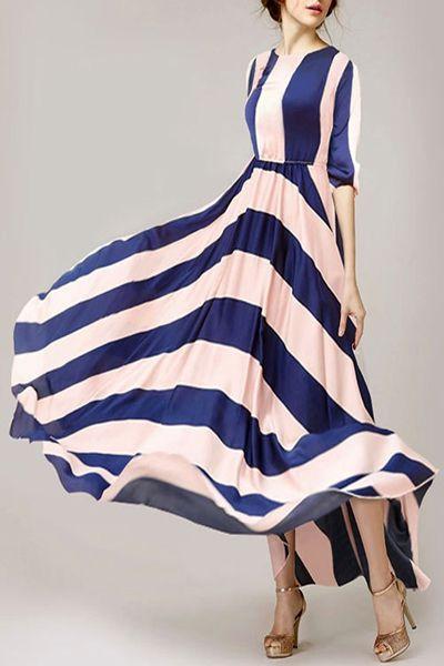 Stripes Spliced 3/4 Sleeve Maxi Dress