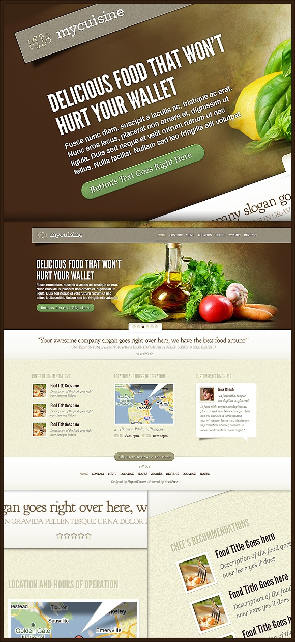 MyCuisine is a small-business theme made with Restaurants in mind. That being said, the theme can easily be  adapted for any business that desires a similar aesthetic.    http://www.elegantthemes.com/affiliates/idevaffiliate.php?id=492