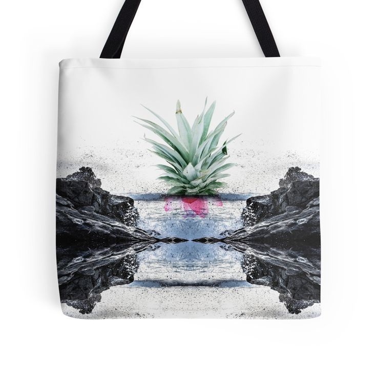 Abstract Seascape Tropical Pineapple Print by #PrintsProject | #totebag #RedBubble