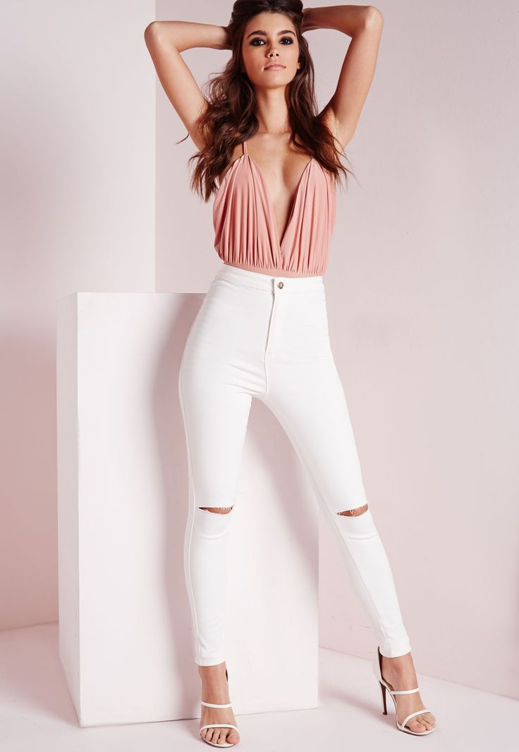 Missguided - Vice High Waisted Slash Knee Skinny Jeans White