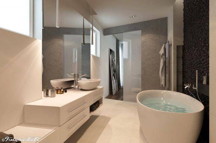 Návrh a design moderní koupelny | solitérní vana a kamenná mozaika