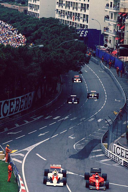 Ayrton Senna and Alain Prost. Monaco Grand Prix, 1990.