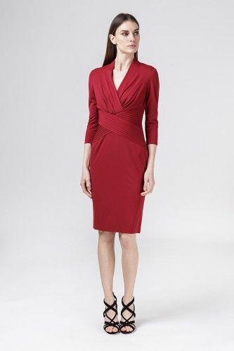 6L85762MX sukienka wizytowa bordowa #casualdress #reddress #mididress
