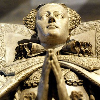 Cast of the tomb of Mary Queen of Scots. The original is in Westminster Abbey, London