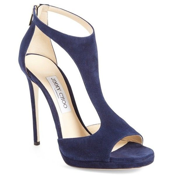 Jimmy Choo 'Lana' Sandal ($850) ❤ liked on Polyvore featuring shoes, sandals, navy suede, leather platform sandals, leather t strap sandals, platform shoes, navy sandals and leather shoes