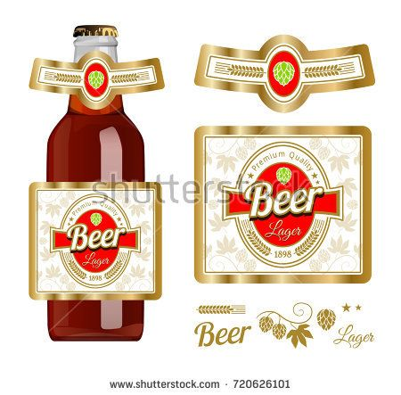 Beer label template with neck label. Lager beer. Vector Illustration.